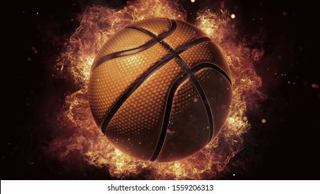 3D Burning Basketball Ball, Fireball Wallpaper, Fire Flames Background