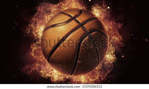 3d Burning Basketball Ball Fireball Wallpaper Stock Illustration