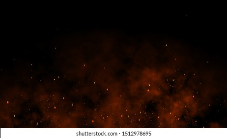 3D Burning embers glowing. Fire Glowing Particles on Black Background
