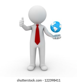 3d business man showing thumbs up with globe in his hand over white background
