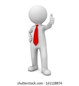 3d business man showing thumbs up like isolated over white background