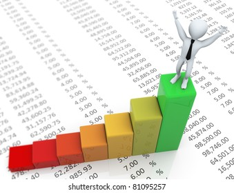 3d business man standing on top of green progress bar on the background of spreadsheet