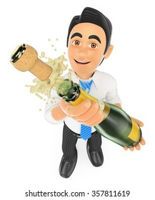 3d business people. Businessman uncorking a bottle of champagne. Isolated white background.