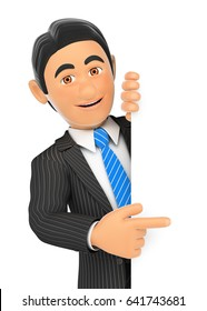 3d business people illustration. Businessman pointing aside with finger. Isolated white background.