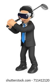 3d business people illustration. Businessman playing golf with a virtual reality glasses. Isolated white background.