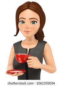 3d business people illustration. Businesswoman drinking a hot cup of coffe. Isolated white background.