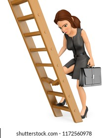 3d business people illustration. Businesswoman climbing up a broken ladder. Isolated white background.