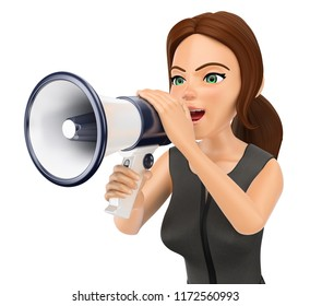 3d business people illustration. Businesswoman talking on a megaphone. Isolated white background.
