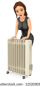 3d business people illustration. Businesswoman warming herself with an portable radiator. Isolated white background