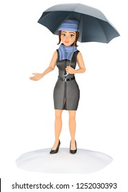 3d business people illustration. Businesswoman protecting herself from the rain with an umbrella. Isolated white background