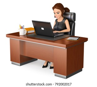 3d business people illustration. 3D Businesswoman working at office with a laptop. Isolated white background.