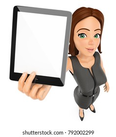 3d business people illustration. Businesswoman with a blank tablet. Isolated white background.