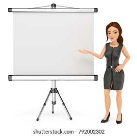 3d business people illustration. Businesswoman with a blank projector screen. Isolated white background.