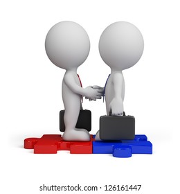 3d business people standing on the puzzle and make a handshake. 3d image. Isolated white background.