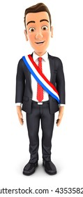3d businessman wearing french mayoral sash, illustration with isolated white background