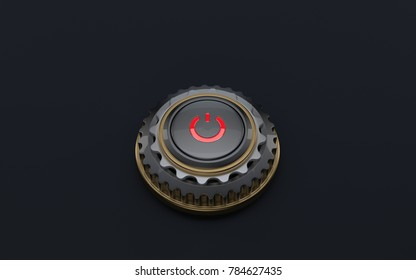 3D button start stop engine on dark background and bright red indicator decorated with gears