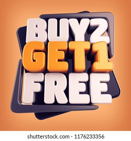 3d Buy 2 Get 1 Free Sign, Buy Two Get One Free Special Offer  Discount Tag, , Sale Symbol, Special Offer Label, Sticker, Tag, Badge, Emblem, 3d Render Text