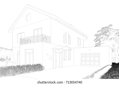 3D CAD architecture house sketch or draft for family home with garage (3D Rendering)