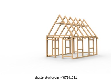 3D CAD model of a wooden house frame