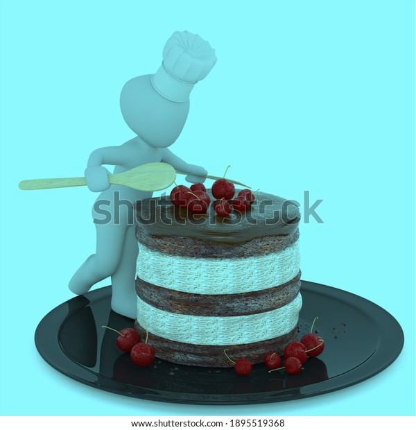 3D cake and 3D figure.
