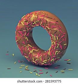 3d cake font letter O