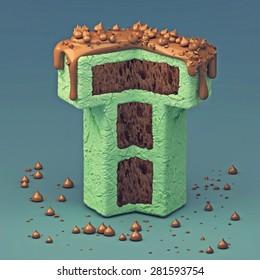 3d cake font letter T
