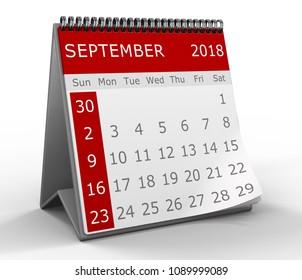 3d calendar illustration over white background, 2018 september page