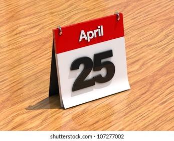 3D calendar standing on desk - April 25 - part of a set