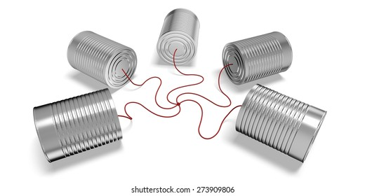 3D. Can, Communication, Tin Can Phone.