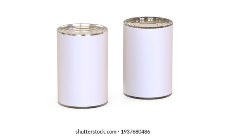 3D cans and tin of different sizes isolated on the background, mock up for your brand identity. Perfect for renderings.