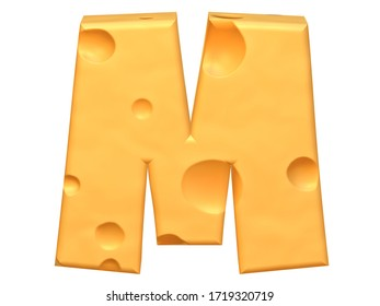 "3D Capital letter ""M"" made from a yellow cheese. 3D rendering. 3D illustration."