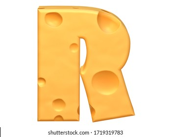 "3D Capital letter ""R"" made from a yellow cheese. 3D rendering. 3D illustration."