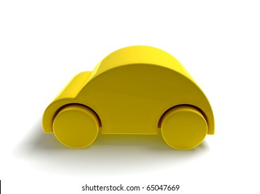 3D car caricature render- yellow