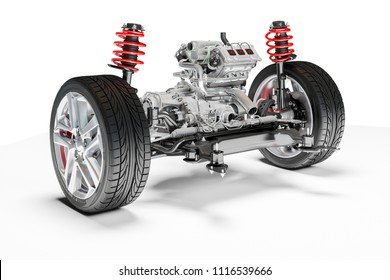 3d car chassis with motor and suspension