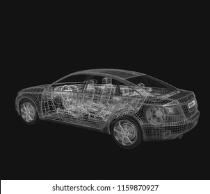 3d car model on a black background.