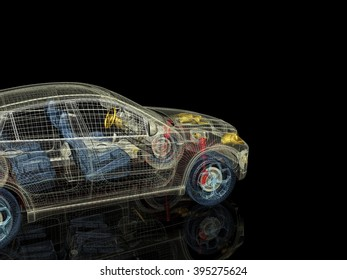 3d car model on a black background. Render image with parts of the car