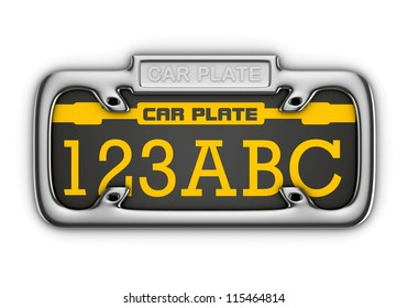 3D Car Plate isolated
