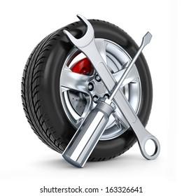 3d car service, tires replacement concept