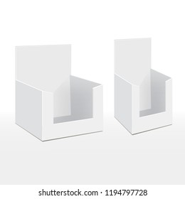 3D Cardboard Blank Empty Display Show Box Holder For Advertising Fliers, Leaflets, Products. Illustration Isolated On White Background