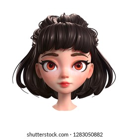 3d cartoon character of a brunette girl with big brown eyes. Beautiful romantic girl. Young woman with short brown hair. Portrait of cute cartoon girl. 3D rendering on white background.