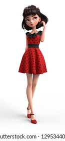 3d cartoon character of a brunette girl with big brown eyes. Beautiful cute cartoon fashion valentines girl in red dress with black polka dots. Romantic young woman. 3D rendering on white background.