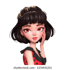 3d cartoon character of a brunette girl with big brown eyes touching her face. Beautiful cute girl in red dress with pain touching her teeth. Fresh clean skin. Skincare. 3D render on white background