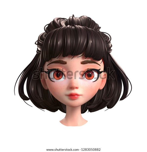 3d Cartoon Character Brunette Girl Big Stock Illustration 1283050882