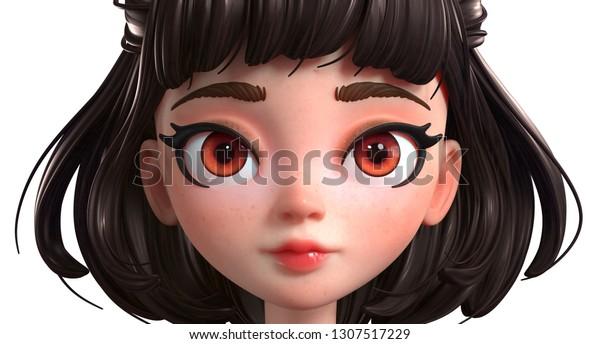 3d Cartoon Character Brunette Girl Big Stock Illustration 1307517229