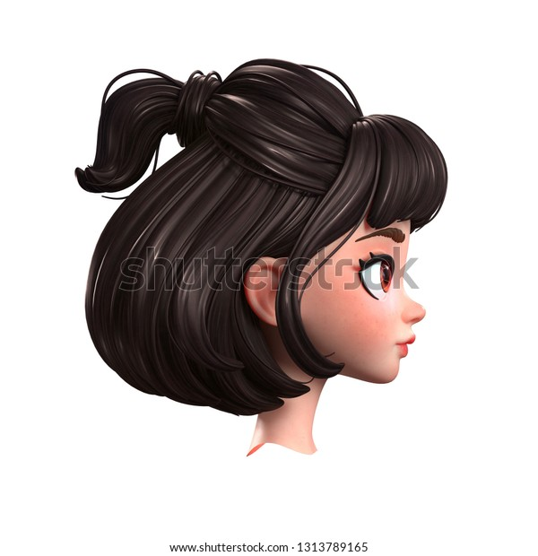 3d Cartoon Character Brunette Girl Big Stock Illustration 1313789165