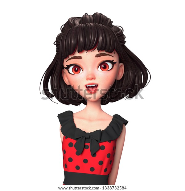 3d Cartoon Character Brunette Girl Big Stock Illustration 1338732584