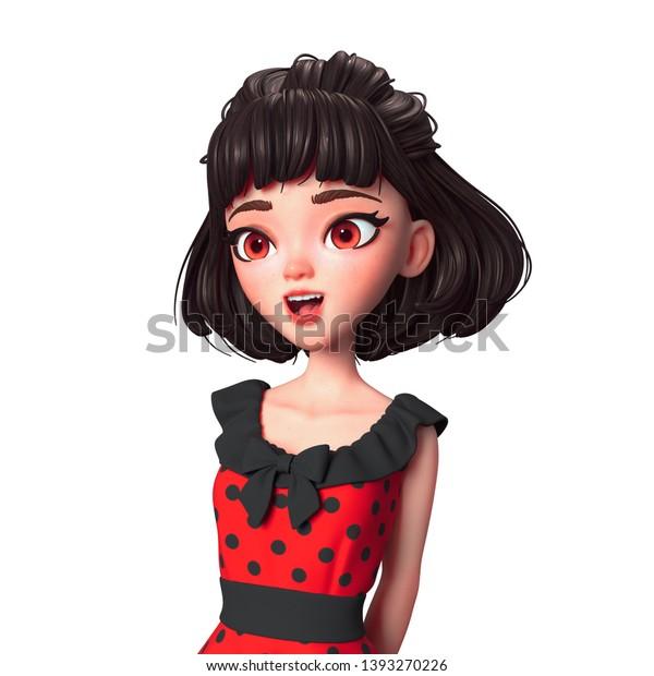 3d Cartoon Character Brunette Girl Big Stock Illustration 1393270226