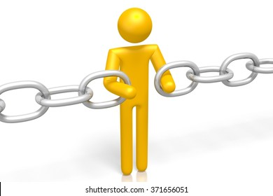 3D cartoon character and a chain - great for topics like missing link etc.