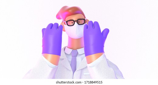 3D cartoon character. Doctor of medicine, insurance template -modern 3D concept digital illustration. Young bearded man wearing mask, glasses, medical coat, tie, showing his hands wearing latex gloves