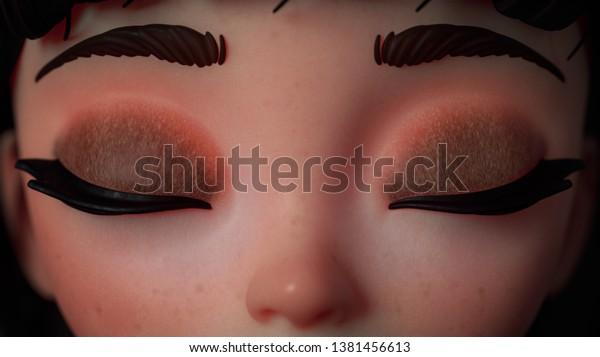 3d Cartoon Character Girl Big Eyes Stock Illustration 1381456613